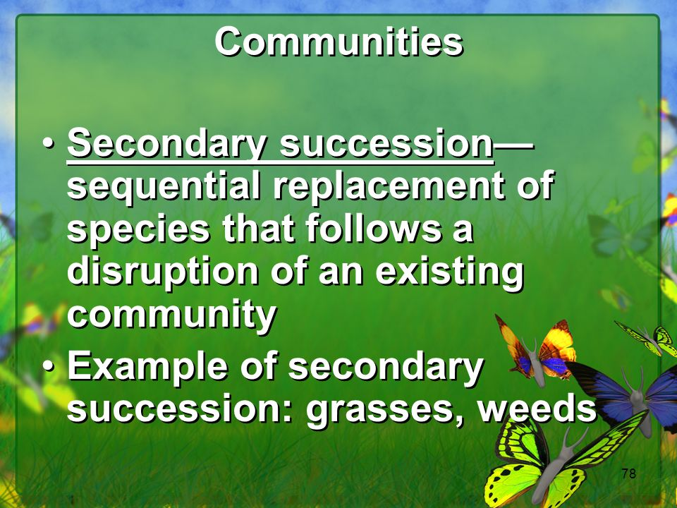 78 Communities Secondary succession sequential replacement of species that follows a disruption of an existing community Example of secondary succession: grasses, weeds Secondary succession sequential replacement of species that follows a disruption of an existing community Example of secondary succession: grasses, weeds
