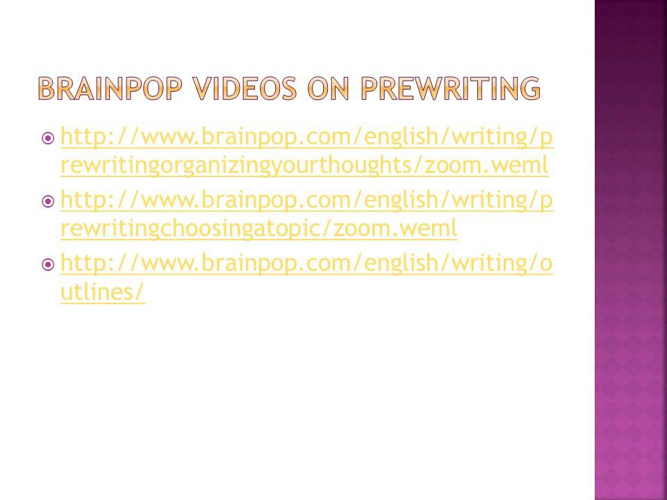 http://www.brainpop.com/english/writing/p rewritingorganizingyourthoughts/zoom.weml http://www.brainpop.com/english/writing/p rewritingorganizingyourt