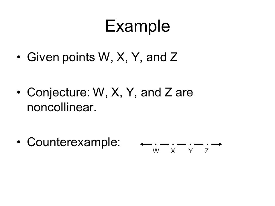 Example Given points W, X, Y, and Z Conjecture: W, X, Y, and Z are noncollinear. Counterexample: W X Y Z