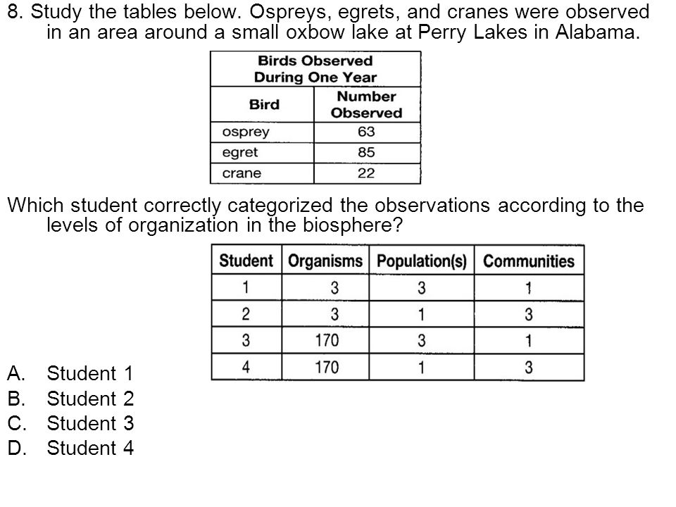 8. Study the tables below. Ospreys, egrets, and cranes were observed in an area around a small oxbow lake at Perry Lakes in Alabama. Which student cor
