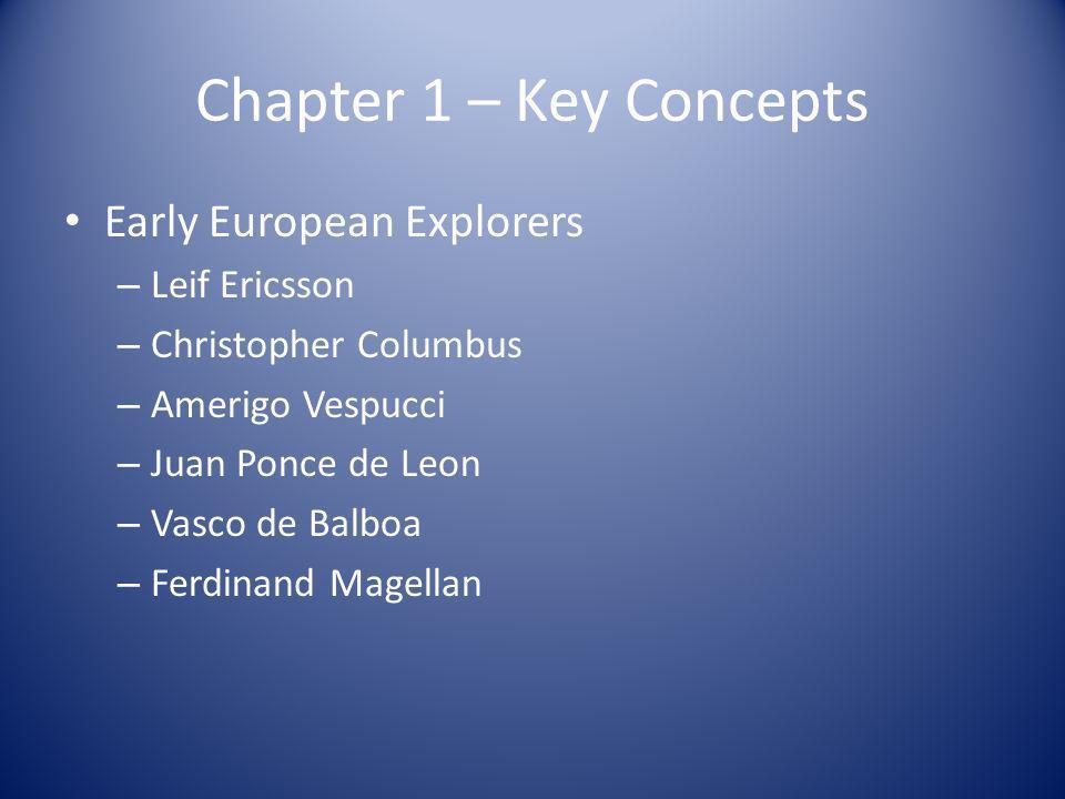 Chapter 1 – Key Concepts Early European Explorers – Leif Ericsson – Christopher Columbus – Amerigo Vespucci – Juan Ponce de Leon – Vasco de Balboa – F