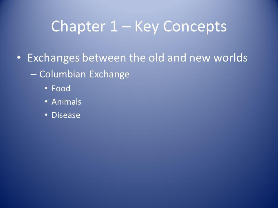 Chapter 1 – Key Concepts Exchanges between the old and new worlds – Columbian Exchange Food Animals Disease