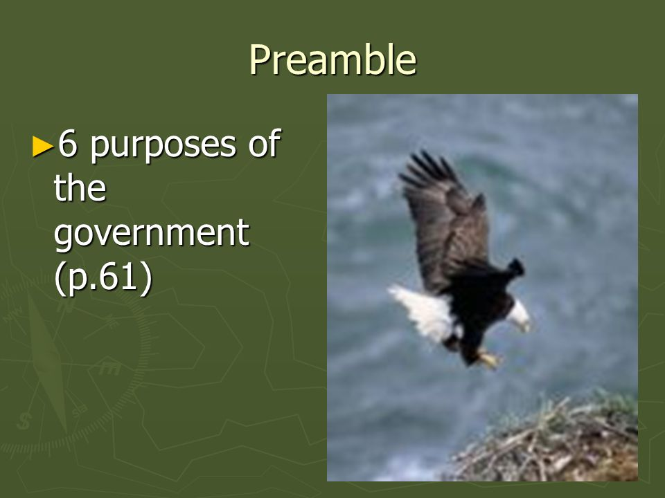 Preamble 6 purposes of the government (p.61) 6 purposes of the government (p.61)