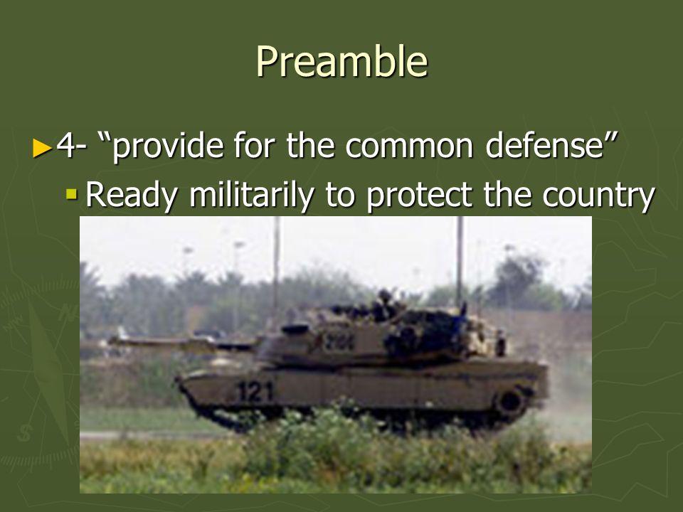 Preamble 4- provide for the common defense 4- provide for the common defense Ready militarily to protect the country Ready militarily to protect the c