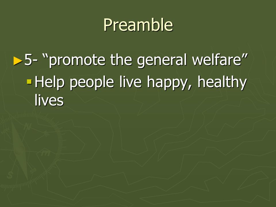 Preamble 5- promote the general welfare 5- promote the general welfare Help people live happy, healthy lives Help people live happy, healthy lives
