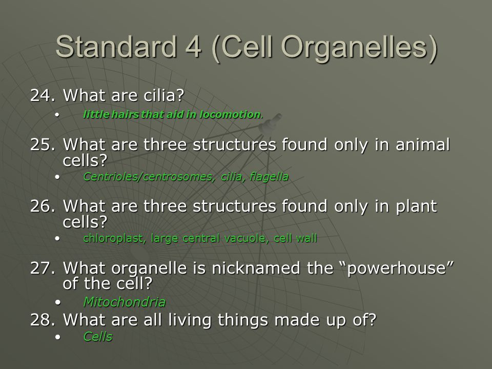 Standard 4 (Cell Organelles) 24. What are cilia.
