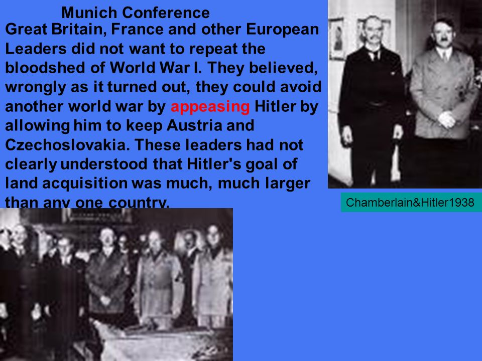 When Hitler broke the Munich Pact and invaded Western Poland, it was the last straw and Britain and France declare war on Germany.