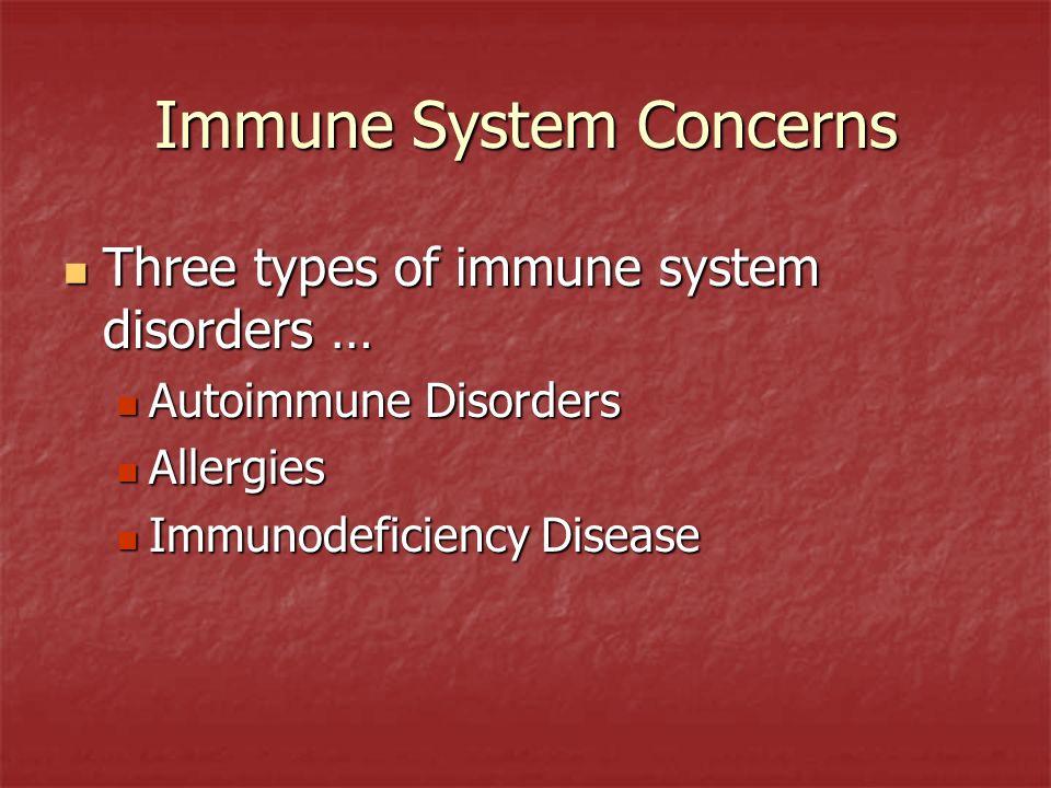 Immune System Concerns Three types of immune system disorders … Three types of immune system disorders … Autoimmune Disorders Autoimmune Disorders All
