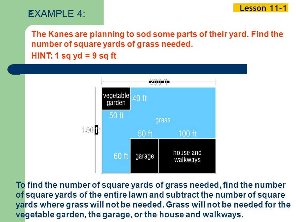 Example 1-2a The Kanes are planning to sod some parts of their yard.