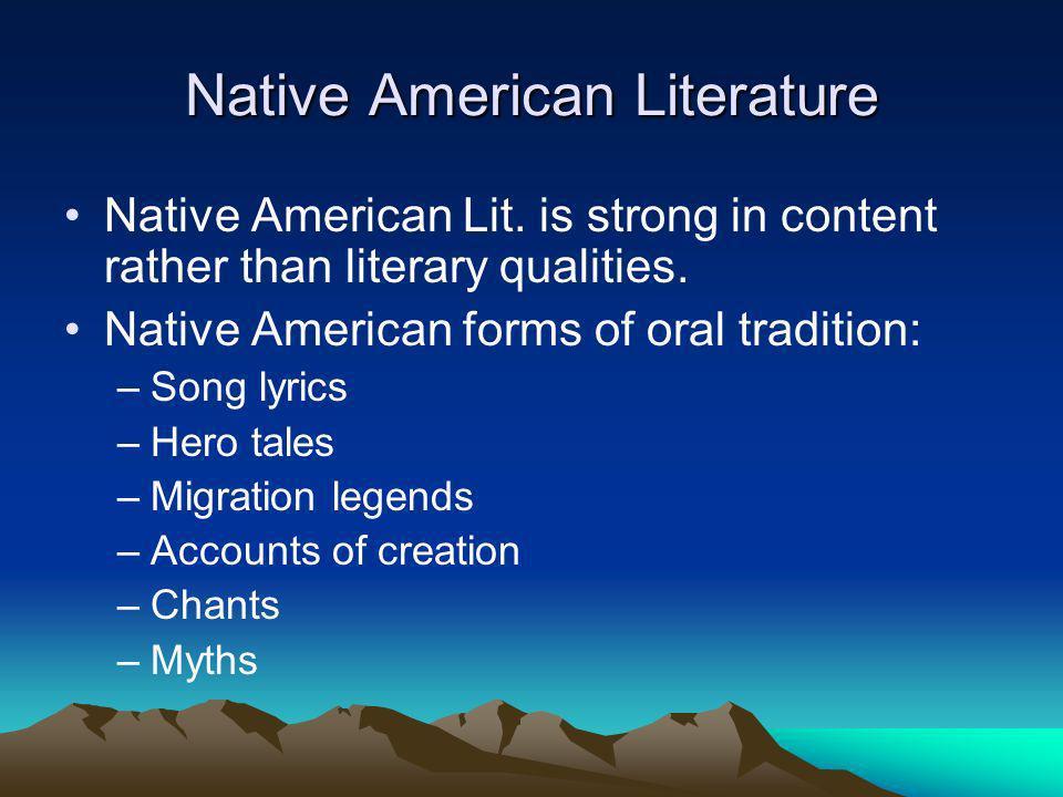 Native American Literature Native American Lit.