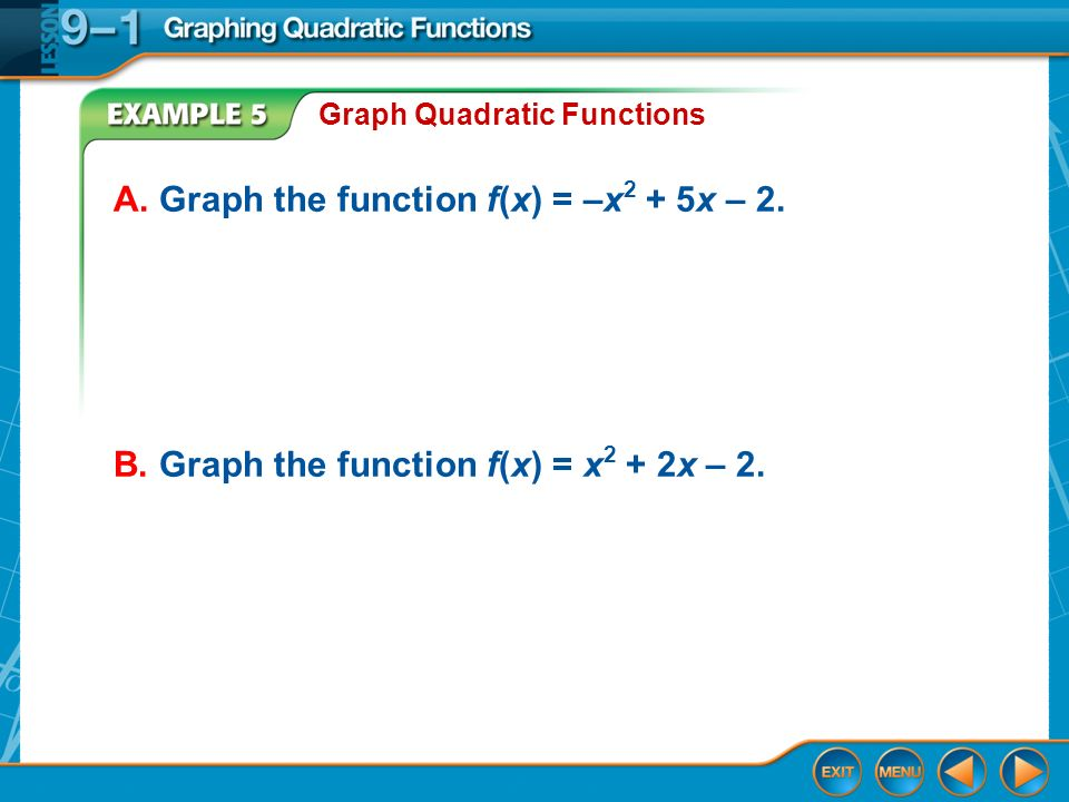 Examples of Function Graphs Example 5 Graph Quadratic