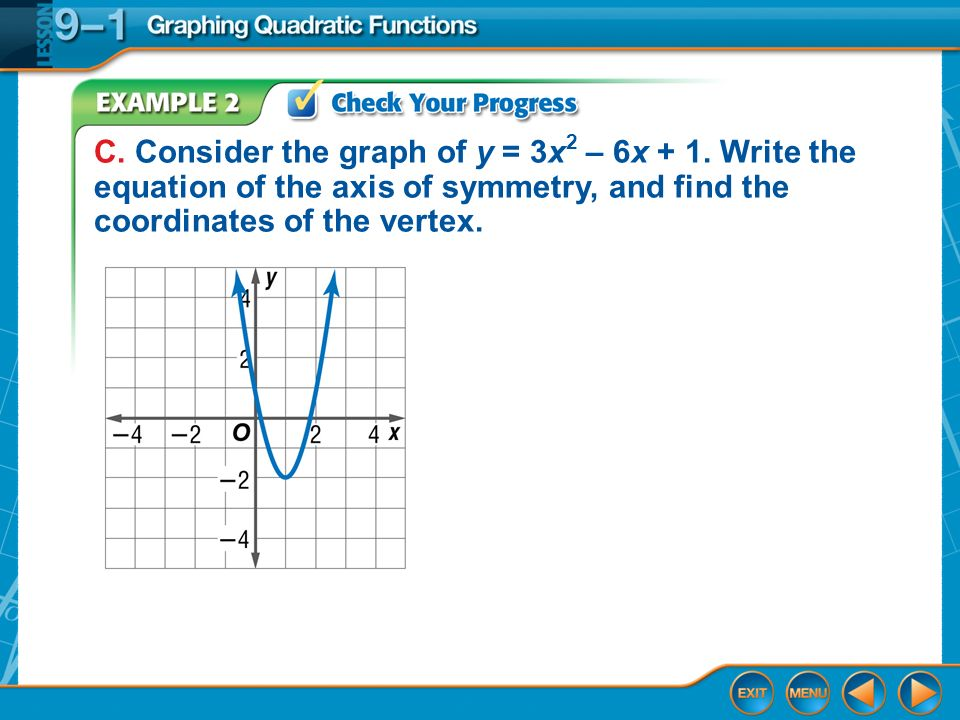 Example 3 Identify Characteristics from Functions A.