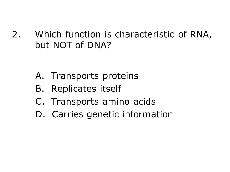 2.Which function is characteristic of RNA, but NOT of DNA.
