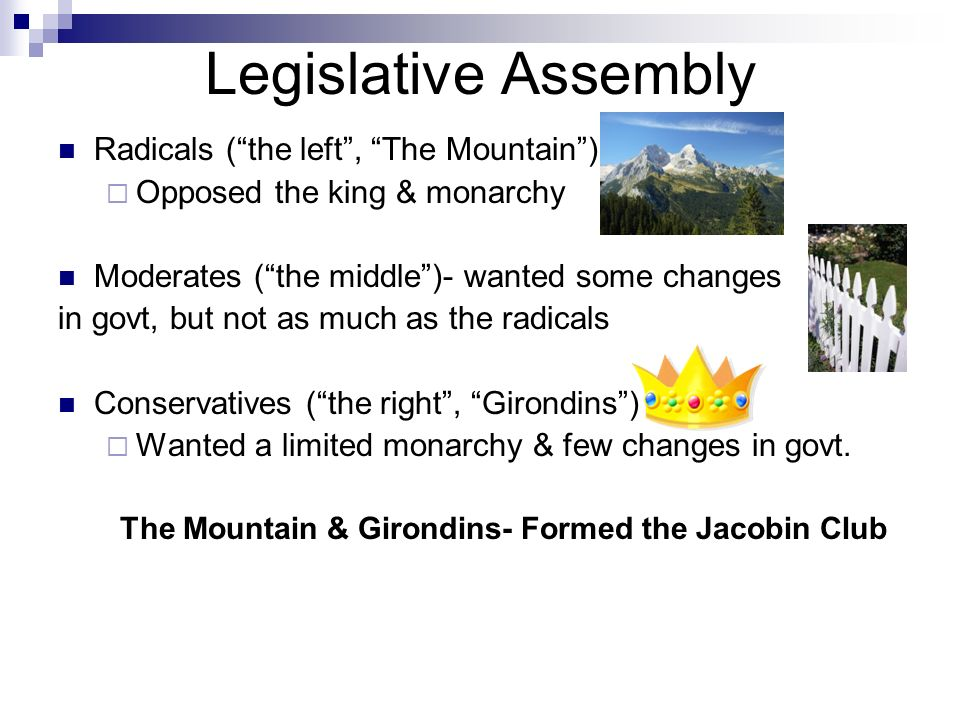 Legislative Assembly Radicals (the left, The Mountain) Opposed the king & monarchy Moderates (the middle)- wanted some changes in govt, but not as muc