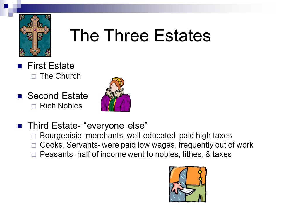 The Three Estates First Estate The Church Second Estate Rich Nobles Third Estate- everyone else Bourgeoisie- merchants, well-educated, paid high taxes