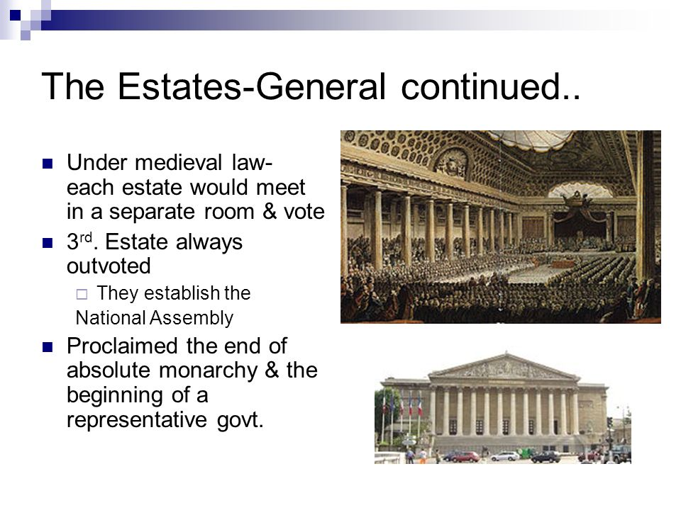 The Estates-General continued.. Under medieval law- each estate would meet in a separate room & vote 3 rd. Estate always outvoted They establish the N