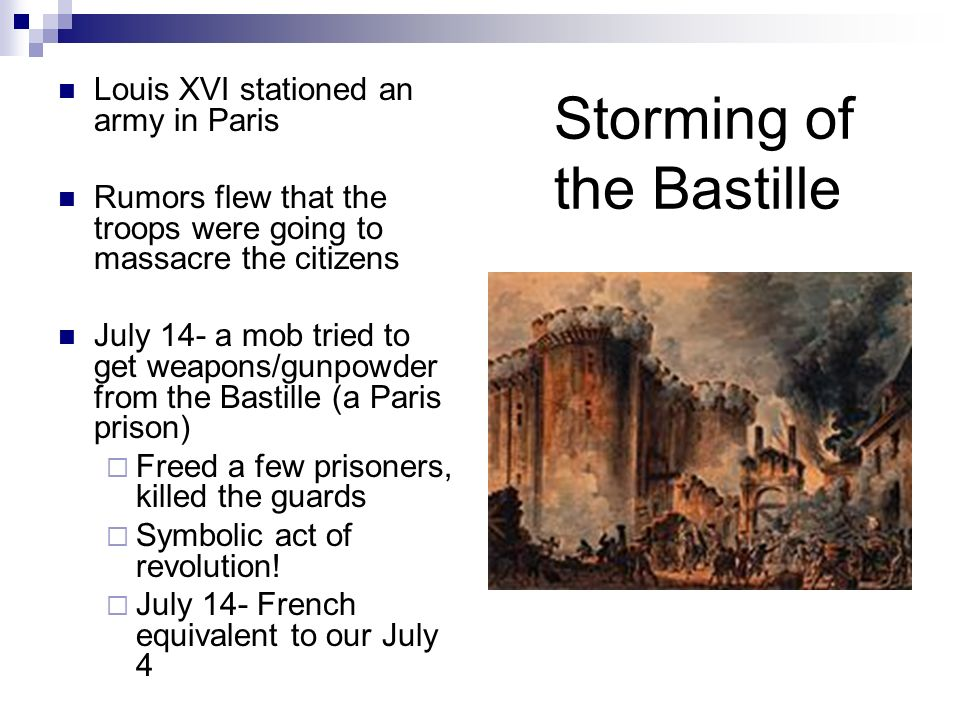 Storming of the Bastille Louis XVI stationed an army in Paris Rumors flew that the troops were going to massacre the citizens July 14- a mob tried to