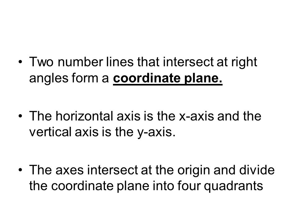 Two number lines that intersect at right angles form a coordinate plane. The horizontal axis is the x-axis and the vertical axis is the y-axis. The ax