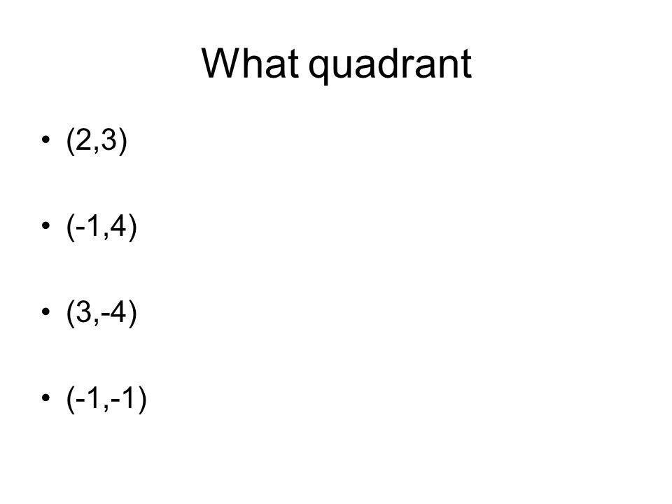 What quadrant (2,3) (-1,4) (3,-4) (-1,-1)