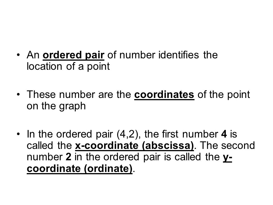 An ordered pair of number identifies the location of a point These number are the coordinates of the point on the graph In the ordered pair (4,2), the