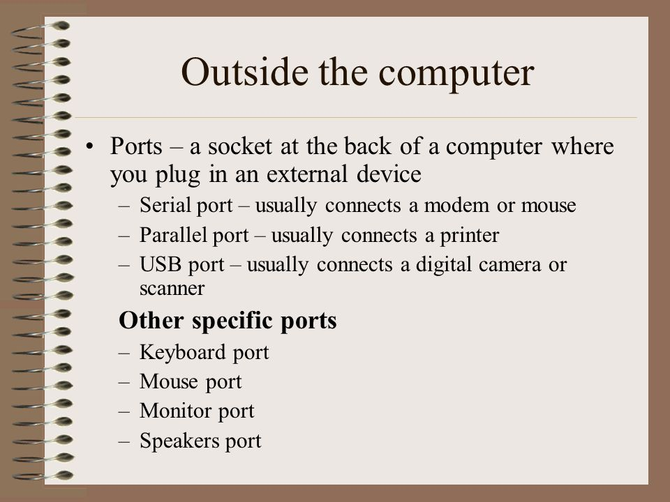 Outside the computer Ports – a socket at the back of a computer where you plug in an external device –Serial port – usually connects a modem or mouse