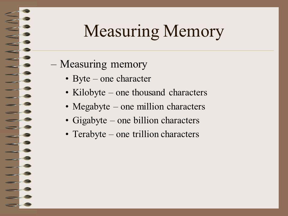 Measuring Memory –Measuring memory Byte – one character Kilobyte – one thousand characters Megabyte – one million characters Gigabyte – one billion ch
