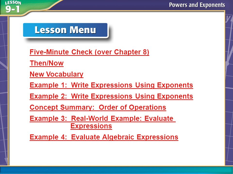 Lesson Menu Five-Minute Check (over Chapter 8) Then/Now New Vocabulary Example 1: Write Expressions Using Exponents Example 2: Write Expressions Using Exponents Concept Summary: Order of Operations Example 3: Real-World Example: Evaluate Expressions Example 4: Evaluate Algebraic Expressions