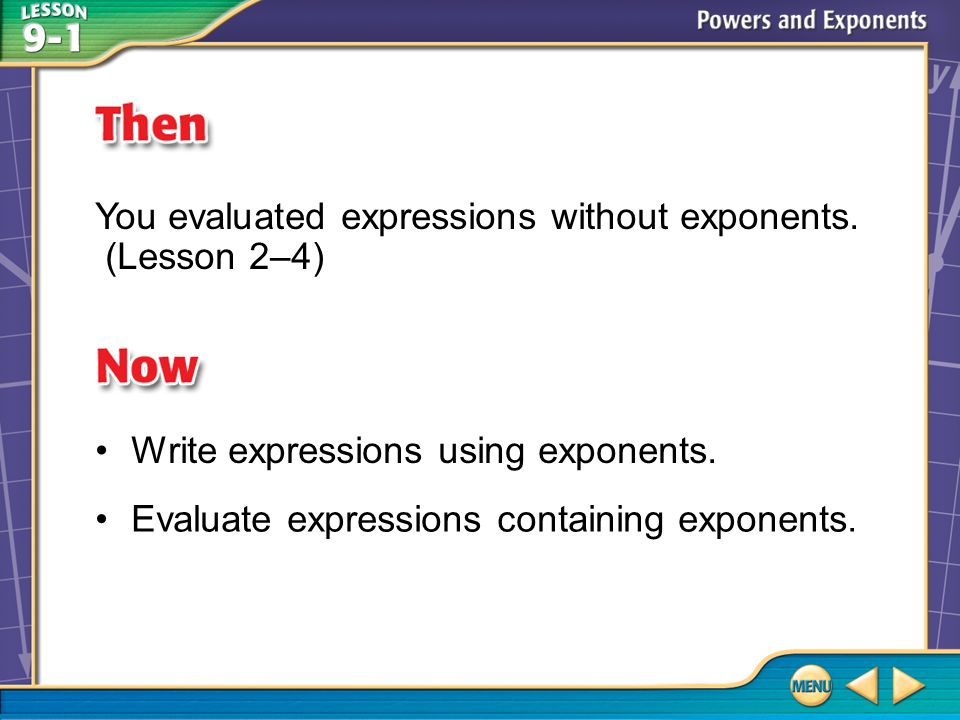Then/Now You evaluated expressions without exponents.