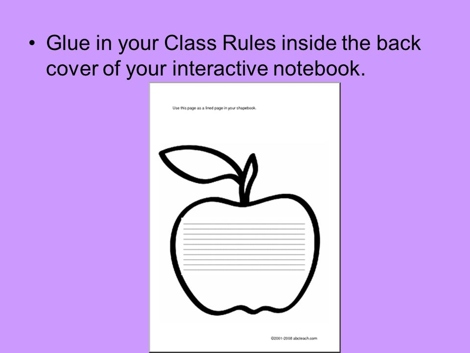 On the last page of your notebook glue in the Quick Guide: Preparing a Bibliography (Both pages) Quick Guide Pg.1 Pg.2 On back of pg.
