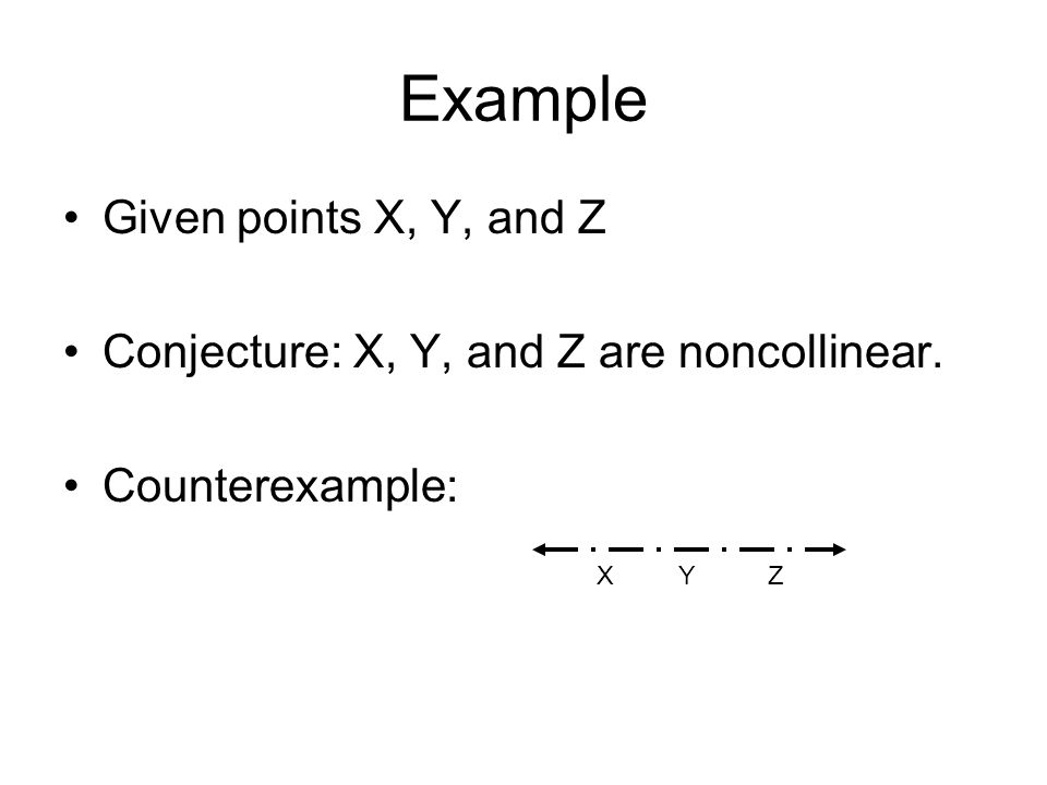 Example Given points X, Y, and Z Conjecture: X, Y, and Z are noncollinear. Counterexample: X Y Z