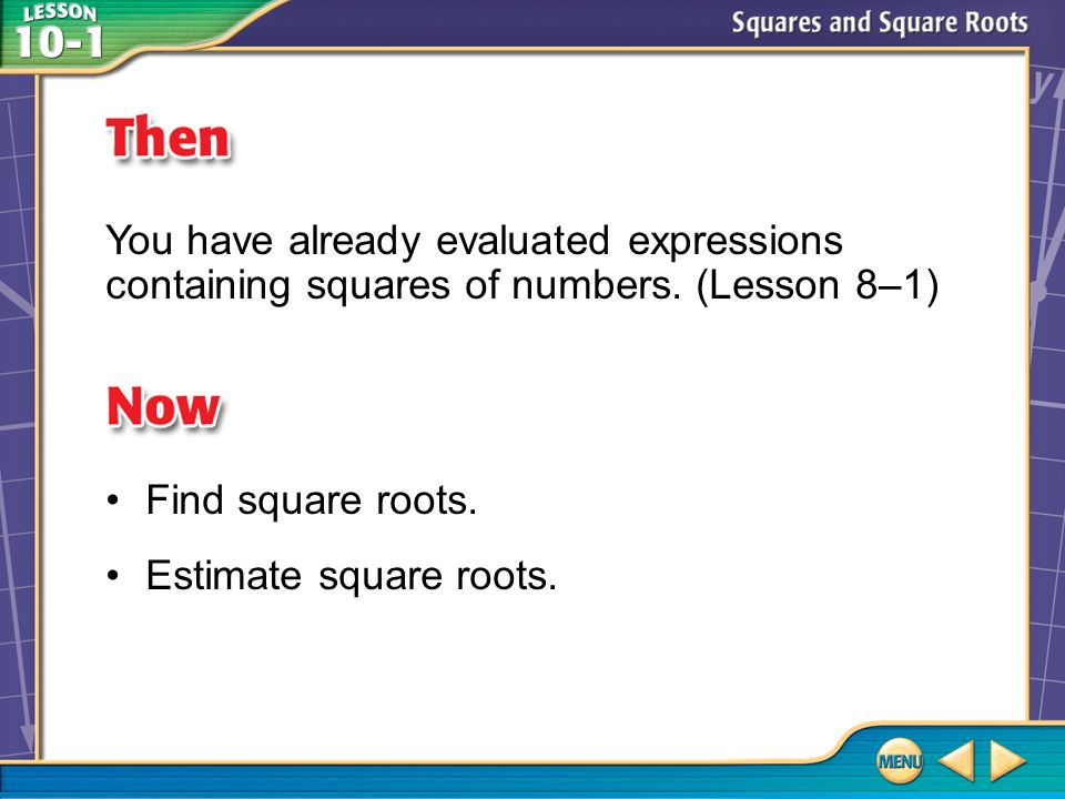 Example 2 A Estimate Square Roots Answer: 5 A.The first perfect square less than 22 is 16.