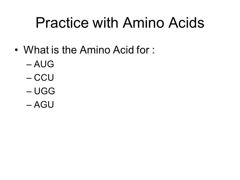 Practice with Amino Acids What is the Amino Acid for : –AUG –CCU –UGG –AGU
