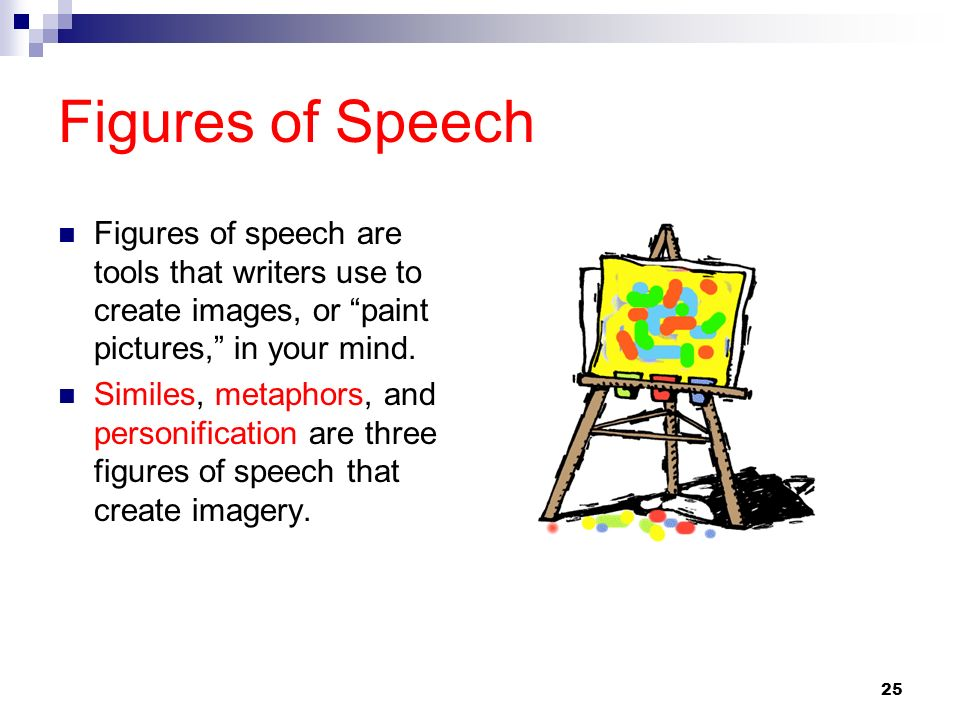 25 Figures of Speech Figures of speech are tools that writers use to create images, or paint pictures, in your mind. Similes, metaphors, and personifi