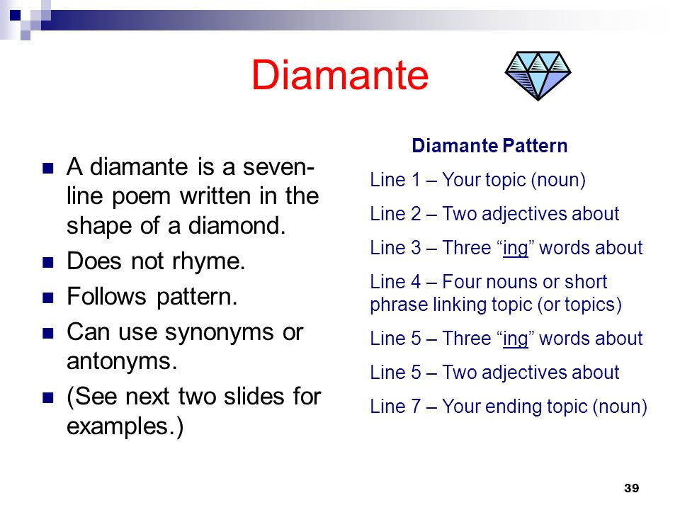39 Diamante A diamante is a seven- line poem written in the shape of a diamond. Does not rhyme. Follows pattern. Can use synonyms or antonyms. (See ne