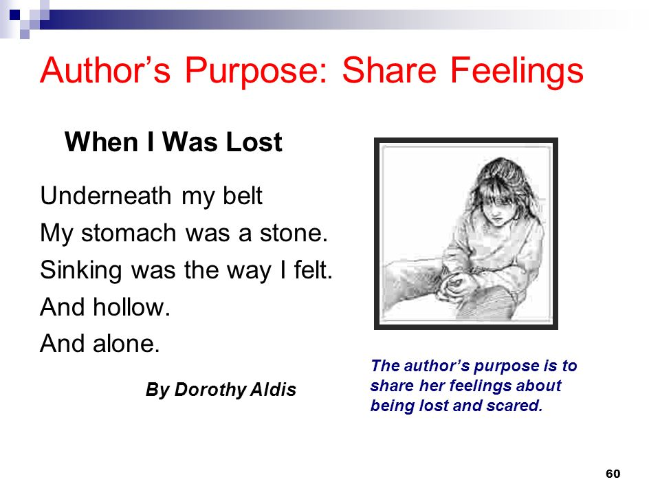 60 Authors Purpose: Share Feelings Underneath my belt My stomach was a stone. Sinking was the way I felt. And hollow. And alone. By Dorothy Aldis The