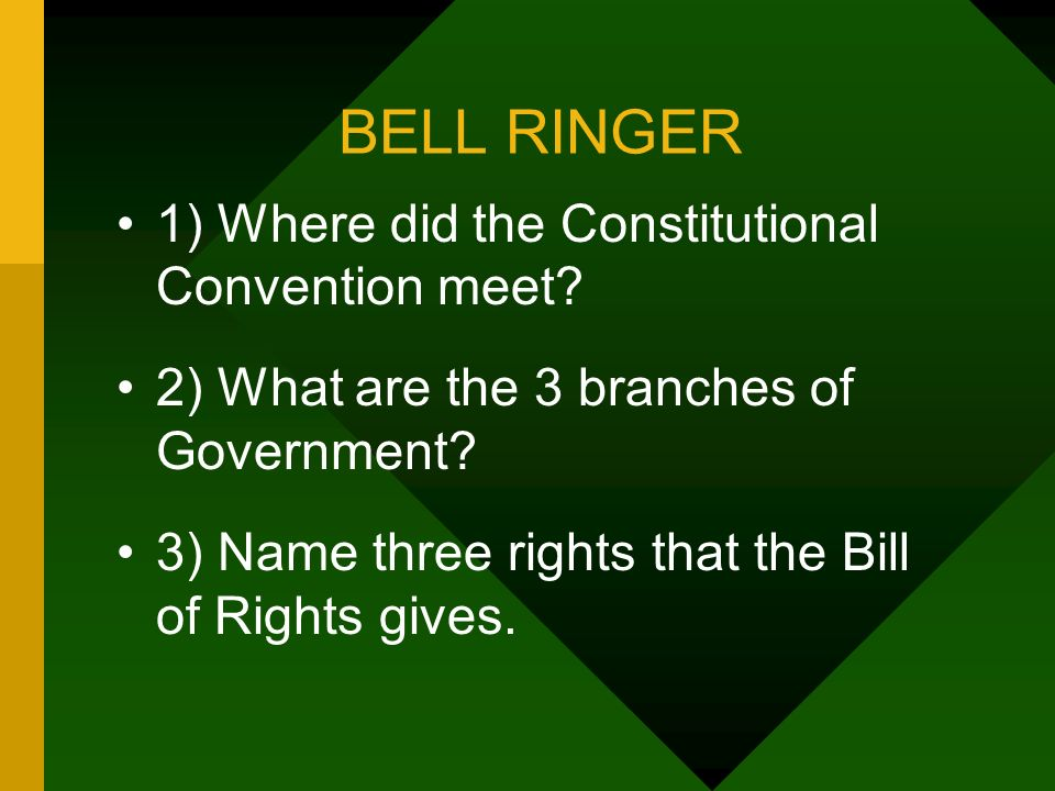 BELL RINGER 1) Where did the Constitutional Convention meet? 2) What are the 3 branches of Government? 3) Name three rights that the Bill of Rights gi