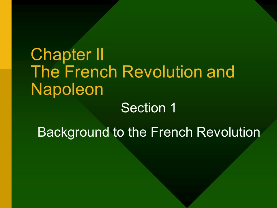 Chapter II The French Revolution and Napoleon Section 1 Background to the French Revolution