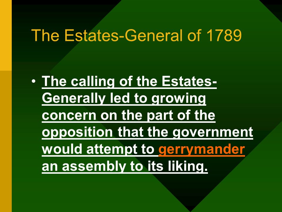 The Estates-General of 1789 The calling of the Estates- Generally led to growing concern on the part of the opposition that the government would attem