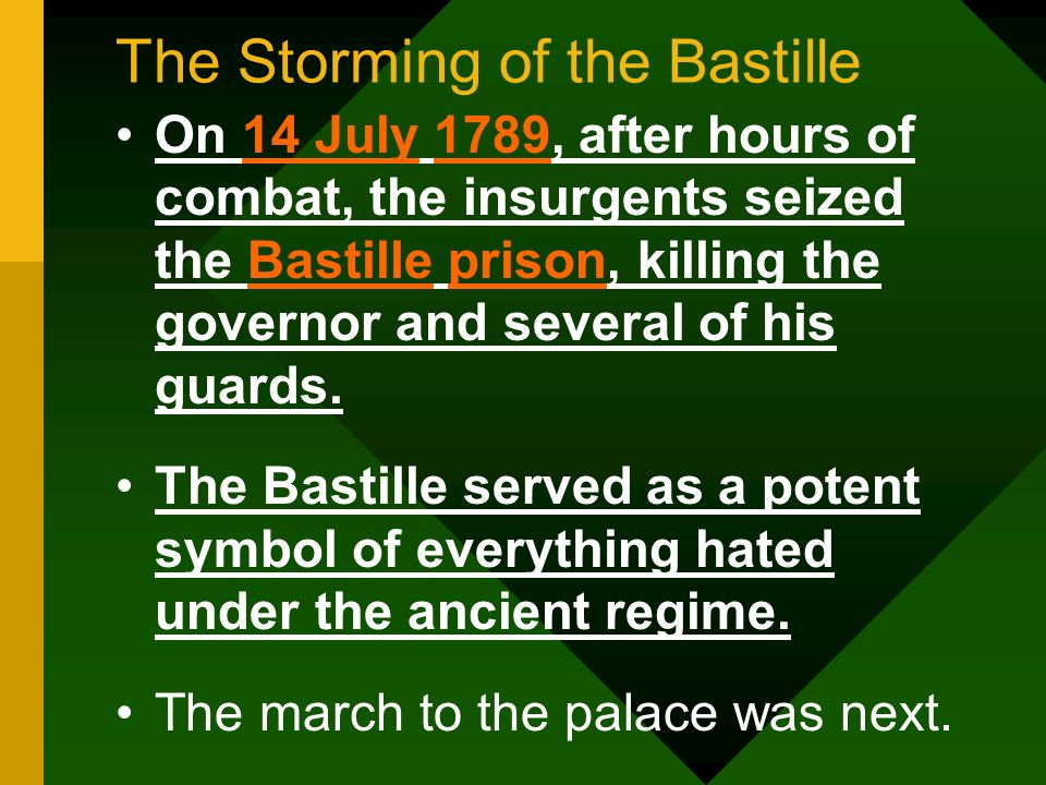 The Storming of the Bastille On 14 July 1789, after hours of combat, the insurgents seized the Bastille prison, killing the governor and several of hi
