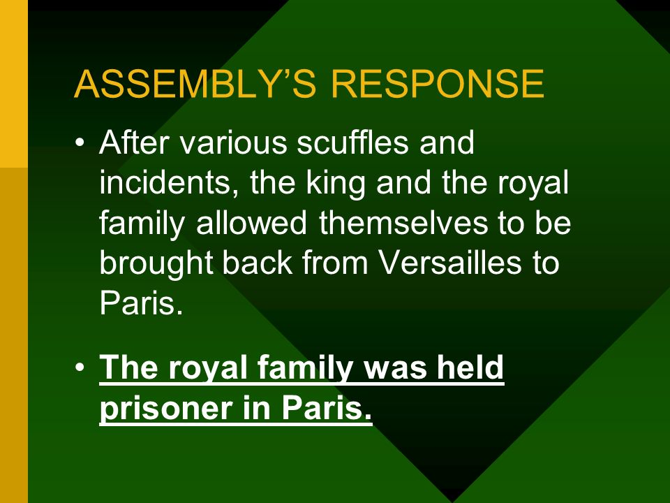 ASSEMBLYS RESPONSE After various scuffles and incidents, the king and the royal family allowed themselves to be brought back from Versailles to Paris.