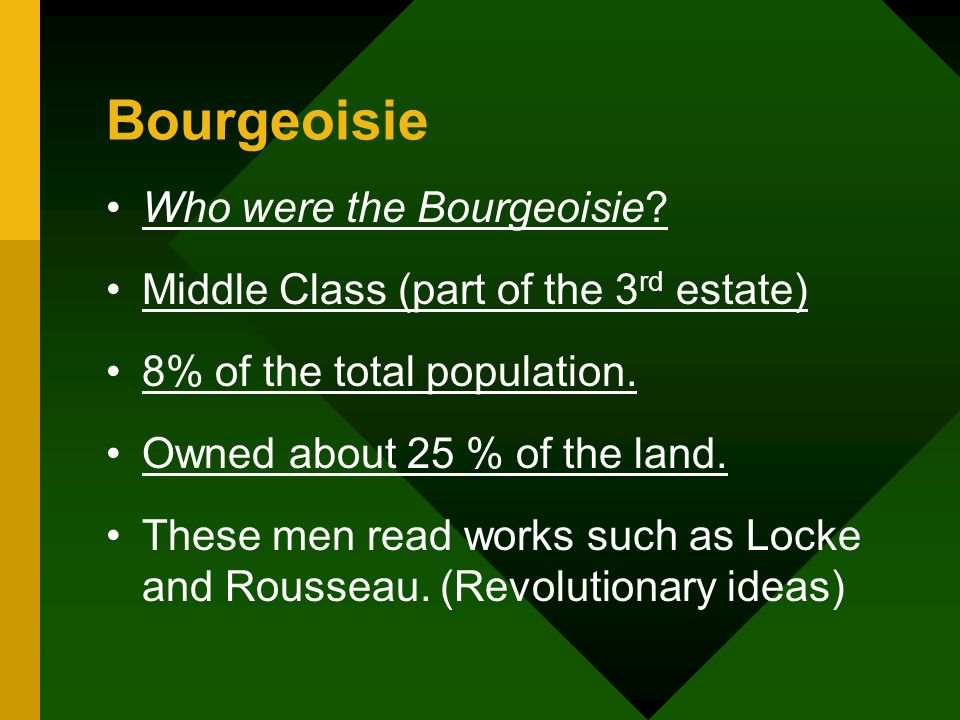 Bourgeoisie Who were the Bourgeoisie? Middle Class (part of the 3 rd estate) 8% of the total population. Owned about 25 % of the land. These men read
