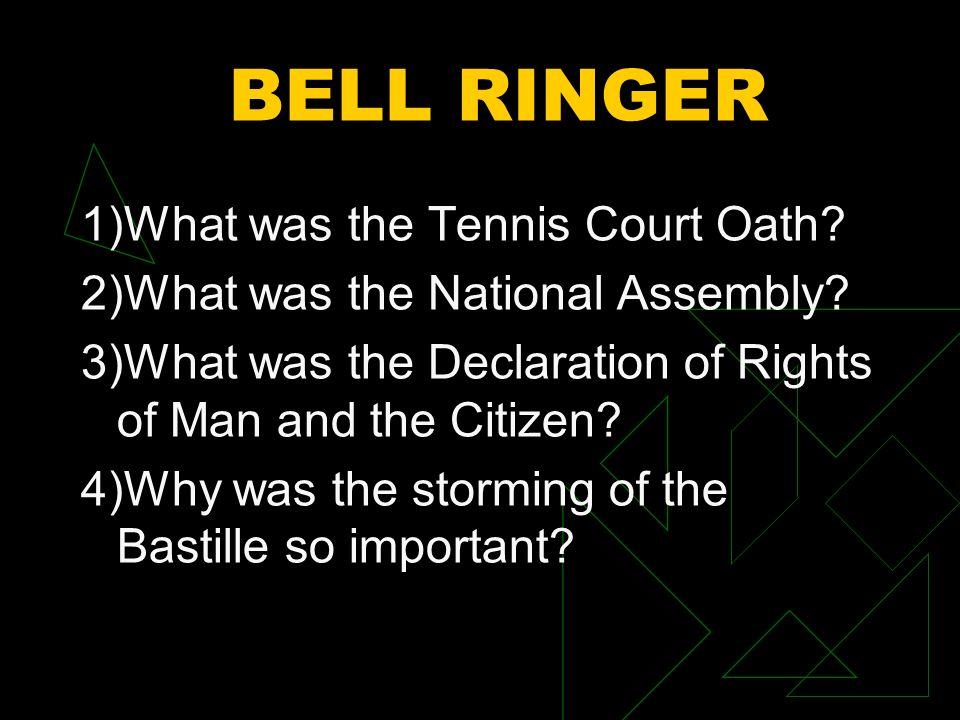 BELL RINGER 1)What was the Tennis Court Oath.2)What was the National Assembly.