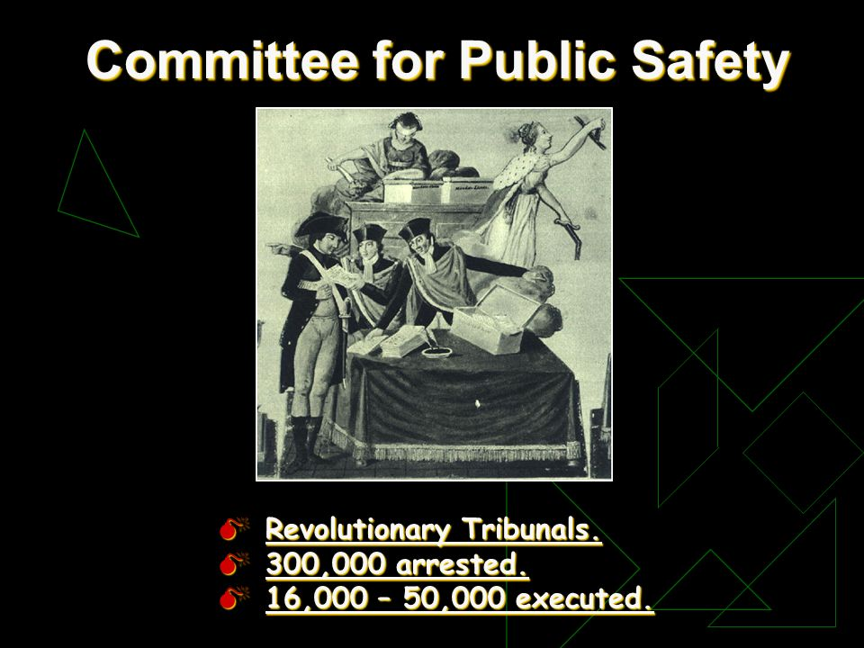Committee for Public Safety Revolutionary Tribunals. Revolutionary Tribunals. 300,000 arrested. 300,000 arrested. 16,000 – 50,000 executed. 16,000 – 5