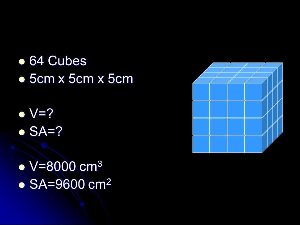 64 Cubes 64 Cubes 5cm x 5cm x 5cm 5cm x 5cm x 5cm V=? V=? SA=? SA=? V=8000 cm 3 V=8000 cm 3 SA=9600 cm 2 SA=9600 cm 2