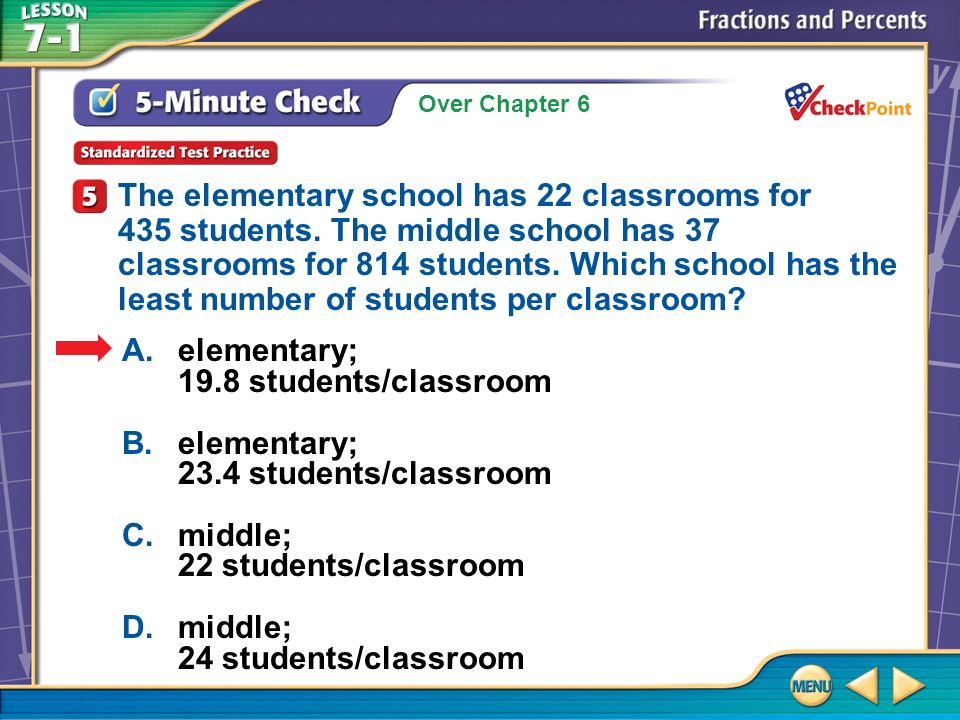Over Chapter 6 5-Minute Check 5 A.elementary; 19.8 students/classroom B.elementary; 23.4 students/classroom C.middle; 22 students/classroom D.middle; 24 students/classroom The elementary school has 22 classrooms for 435 students.