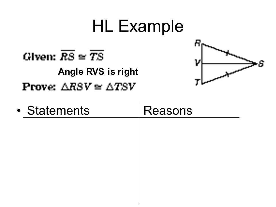 Statements Reasons HL Example Angle RVS is right