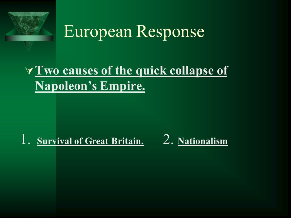 European Response Two causes of the quick collapse of Napoleons Empire. 1.2. Survival of Great Britain. Nationalism