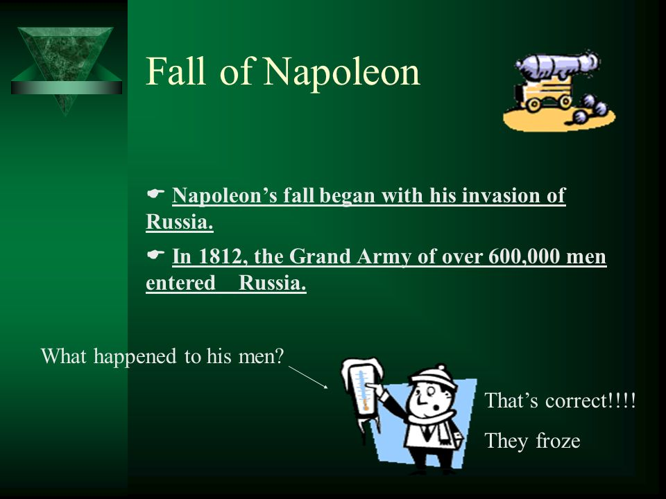 Fall of Napoleon Napoleons fall began with his invasion of Russia.