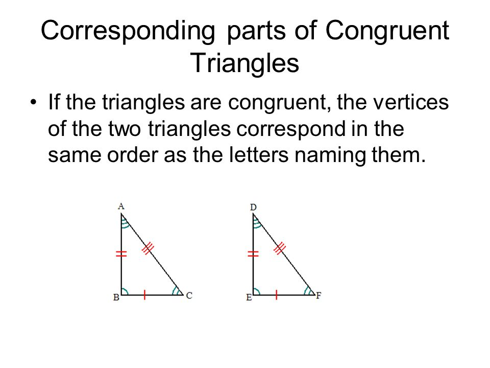 Corresponding parts of Congruent Triangles If the triangles are congruent, the vertices of the two triangles correspond in the same order as the lette
