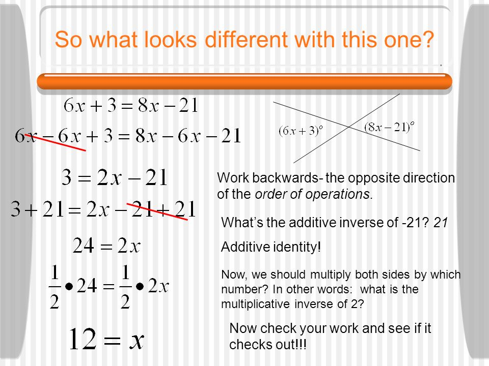 So what looks different with this one? Work backwards- the opposite direction of the order of operations. Whats the additive inverse of -21? 21 Additi